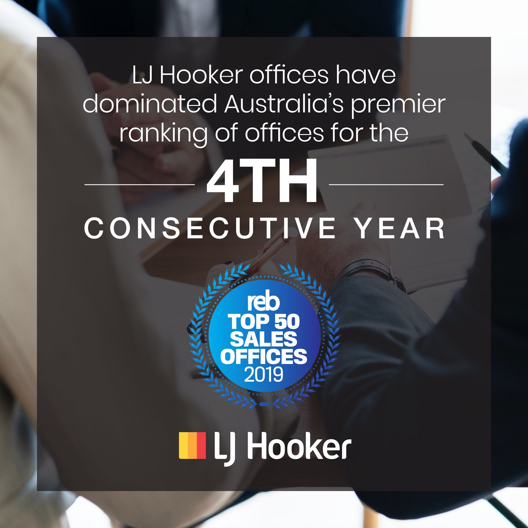 LJ Hooker dominates the REB Top 50 Sales Offices ranking for the 4th consecutive year